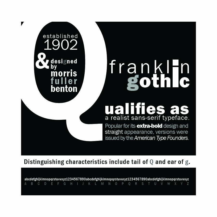 Franklin Gothic Specimen Poster designed by Kathleen E. Wilson | © 2013
