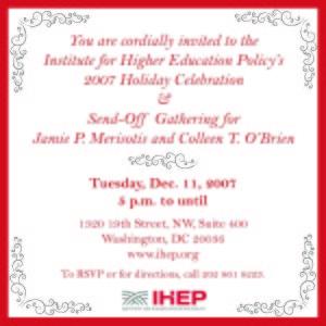 IHEP Holiday Gathering flyer designed by Kathleen E. Wilson | 2007