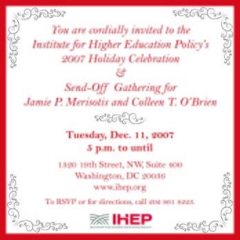 IHEP Holiday Gathering flyer designed by Kathleen E. Wilson | © 2007