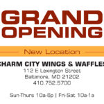 Charm City Wings & Waffles flyer designed by Kathleen E. Wilson | © 2014