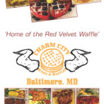 Charm City Wings & Waffles menu designed by Kathleen E. Wilson | © 2014