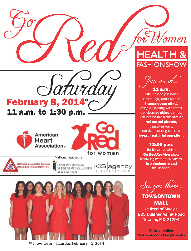 Go Red for Women® flyer designed by Kathleen E. Wilson | © 2014