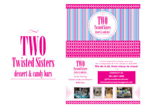 image of logo and postcard for Two Twisted Sisters